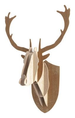 Dekoration - Spaßig und ausgefallen - Trophäe H 70 cm - dreifarbige Version - Moustache - H 70 cm - 3 Holznuancen - Eiche, Nussbaum, Teakholz