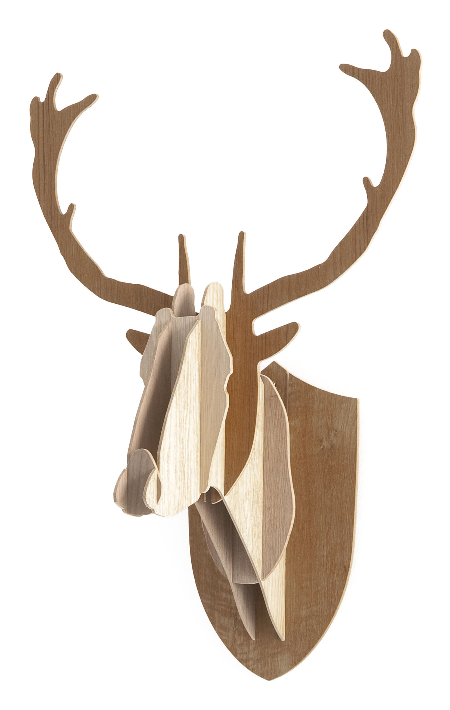 Déco - Tendance humour & décalage - Trophée Cerf - H 70 cm / Version tricolore - Moustache - H 70 cm - 3 nuances de bois - Chêne, Noyer, Teck