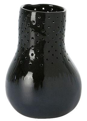 Dekoration - Vasen - Butternut Embroidery Vase / Ø 15 cm x 21 cm - Domestic - Nachtblau / Schnüre farbig - emaillierte Keramik, Wolle