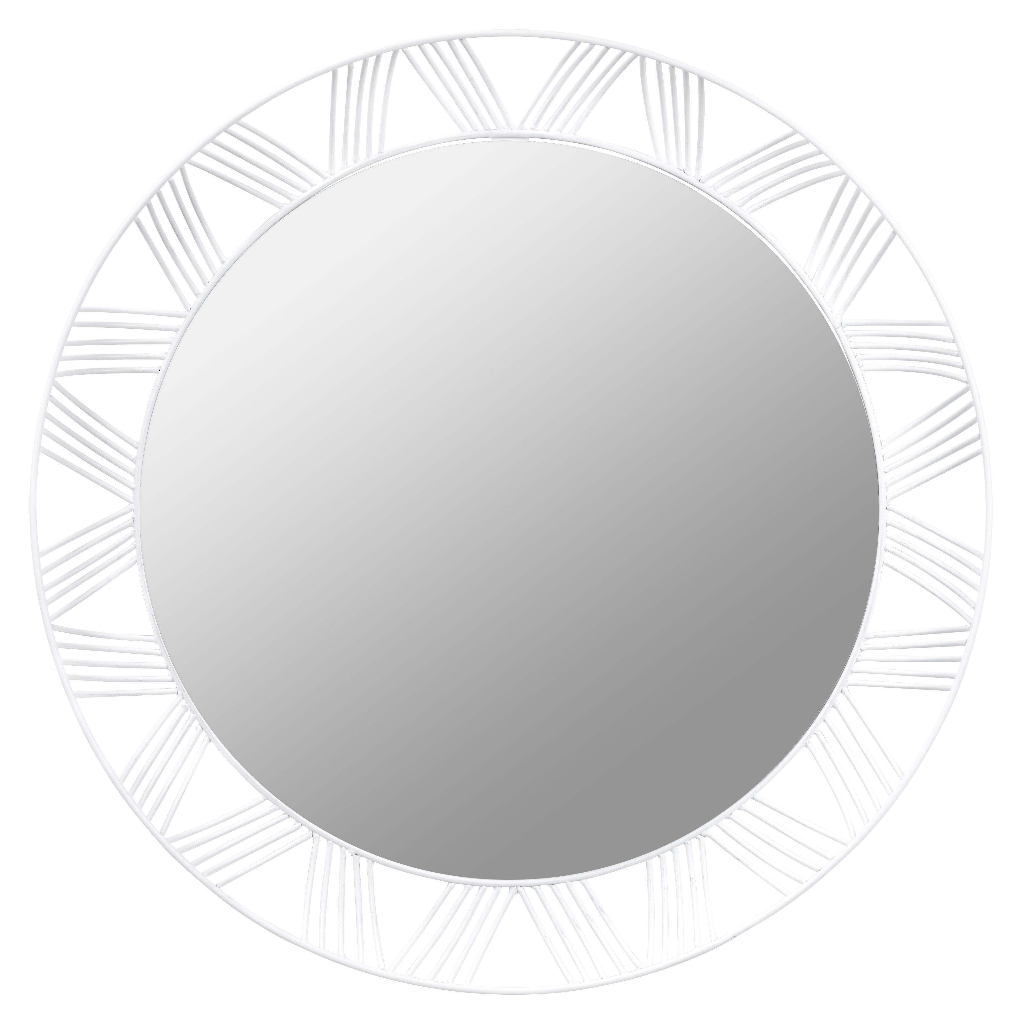 Decoration - Mirrors - Stilk Wall mirror - Round - Ø 50 cm by Serax - White - Lacquered metal, Mirror