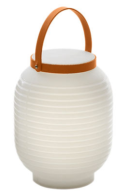 Lighting - Table Lamps - Honey Wireless lamp - Wireless by Serralunga - White / Beige leather handle - Leather, Polythene