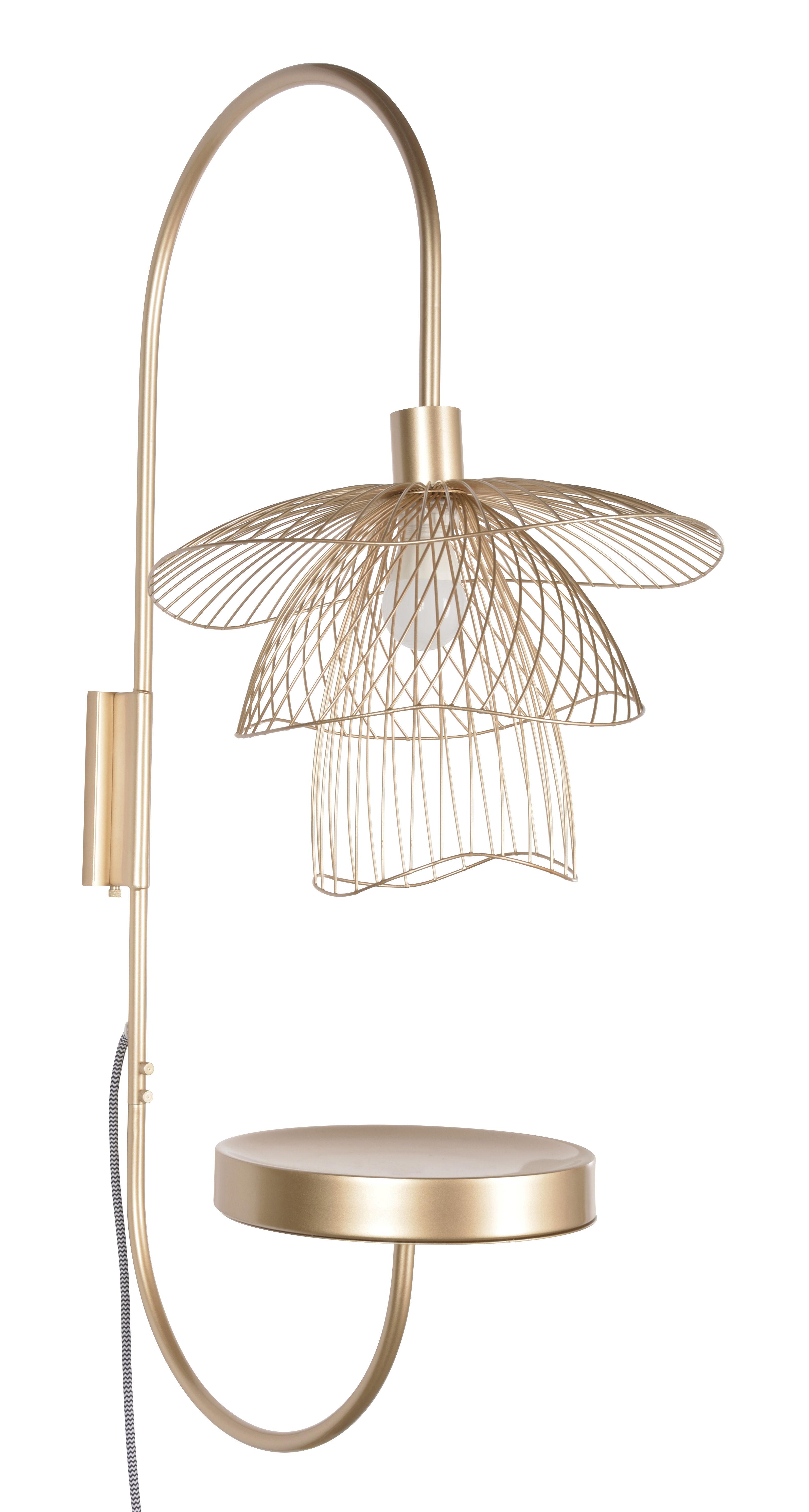 Illuminazione - Lampade da parete - Applique con presa Papillon - / H 75 cm - Piano di Forestier - Champagne - Acciaio termolaccato