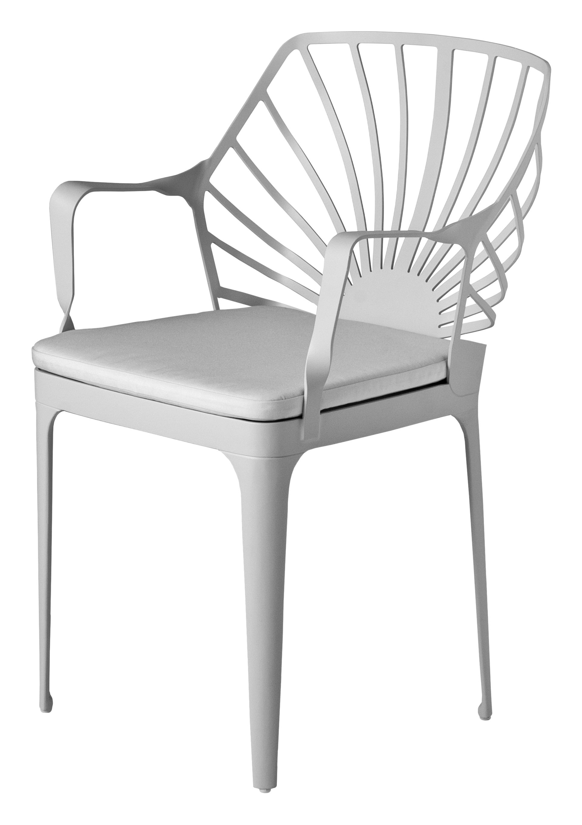 Furniture - Chairs - Sunrise Armchair - With cushion by Driade - White - Fabric, Lacquered aluminium