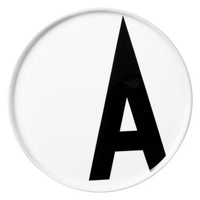 Assiette A-Z / Porcelaine - Lettre A - Ø 20 cm - Design Letters blanc en céramique