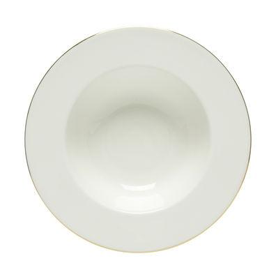 Arts de la table - Assiettes - Assiette creuse Oiva / Ø 20 cm - Edition 10ème anniversaire - Marimekko - Oiva / Blanc et or - Grès
