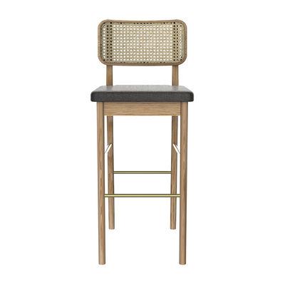 Furniture - Bar Stools - Cannage Bar stool - / H 65 cm - Fabric by RED Edition - Caviar grey fabric / Oak - Brass, Fabric, Foam, Rattan, Solid oak