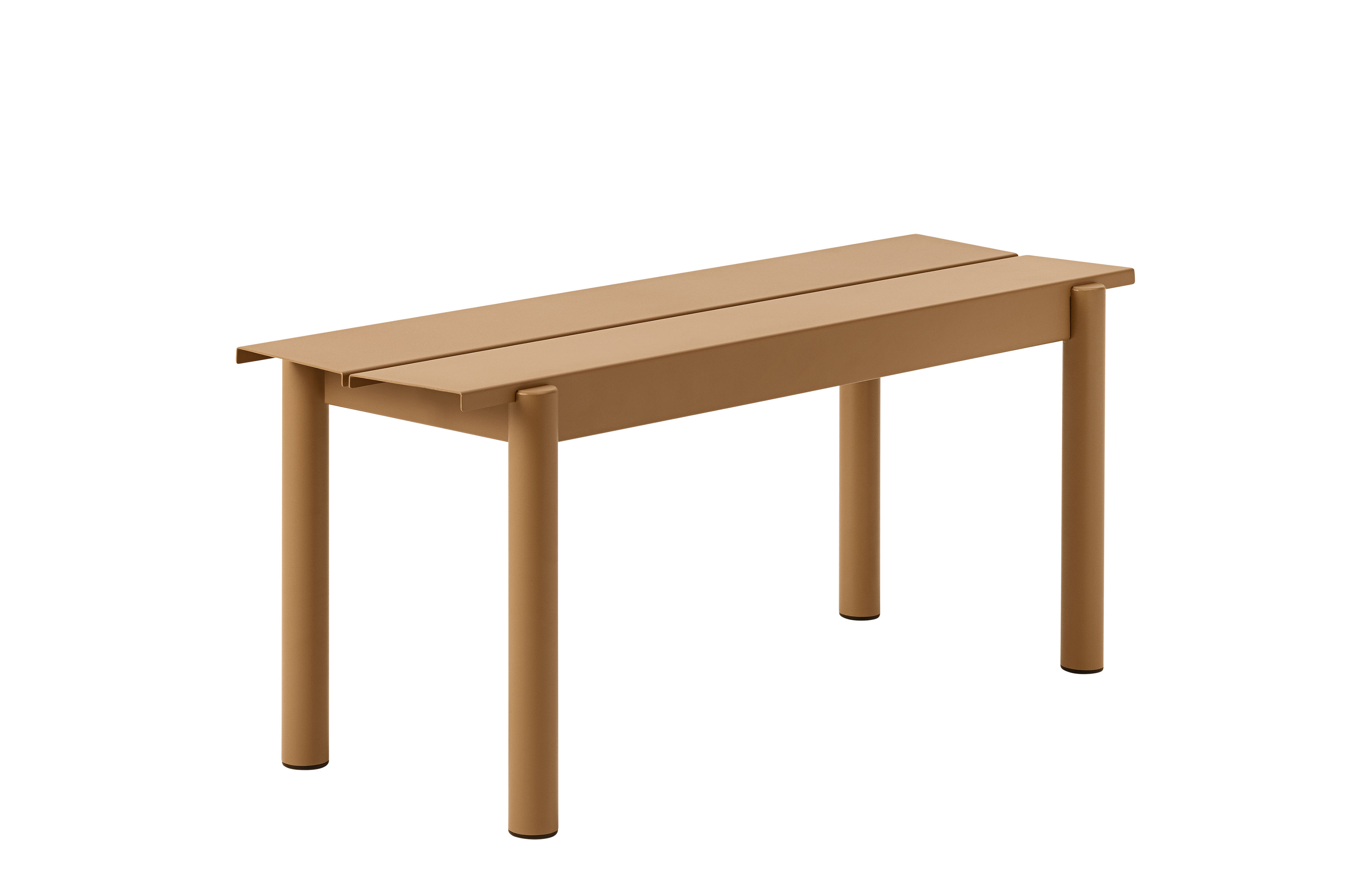 Furniture - Benches - Linear Bench - / Steel - L 110 cm by Muuto - Caramel - Acier revêtement poudre