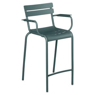 Chaise de bar Luxembourg Bridge / H 69,5 cm - Accoudoirs - Fermob gris en métal