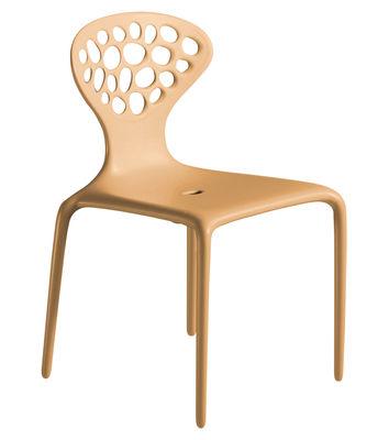 Mobilier - Chaises, fauteuils de salle à manger - Chaise empilable Supernatural / Plastique - Moroso - Caramel - Fibre de verre, Polypropylène