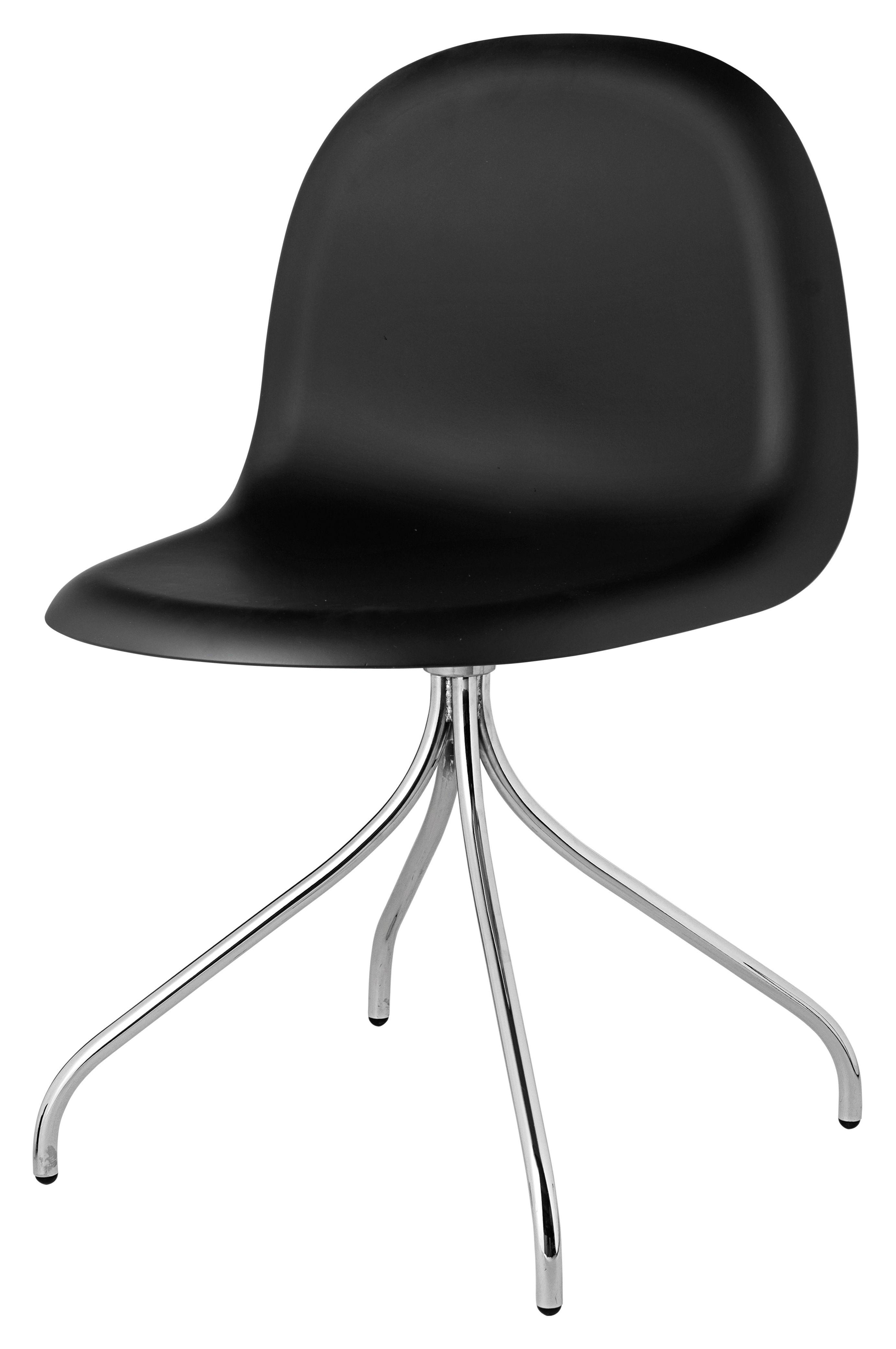 Mobilier - Chaises, fauteuils de salle à manger - Chaise pivotante 3D / 4 pieds - Coque HiRek - Gubi - Coque noire / Piètement chromé - Acier chromé, Polymère