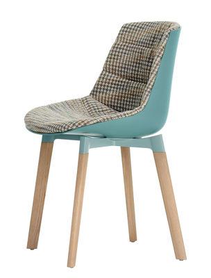 Quatre Pieds Chaises chaise rembourrée flow color / 4 pieds cross chêne bleu & tissu pied