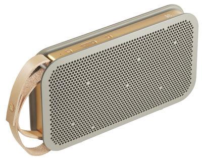 Weihnnachtsgeschenke - Für ihn / Der moderne Man - Enceinte Bluetooth Beoplay A2 / Sans fil - Poignée cuir - B&O PLAY by Bang & Olufsen - Gris & Cuivre / Cuir naturel - Aluminium, Cuir