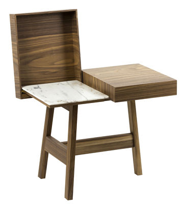 Furniture - Coffee Tables - Noci End table - / Walnut & Marble by Internoitaliano - Walnut / White marble - Carrare marble, Walnut