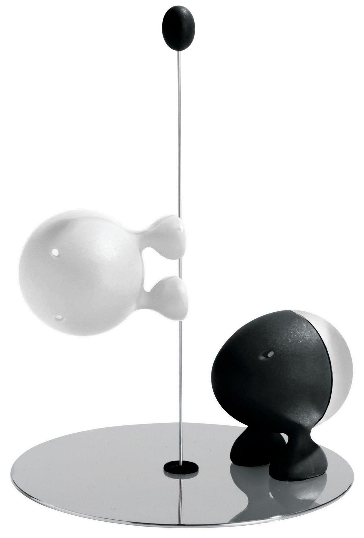 Coquetiers - Sel, poivre et épices - Ensemble salière et poivrière Lilliput - A di Alessi - Noir / Blanc - Résine thermoplastique
