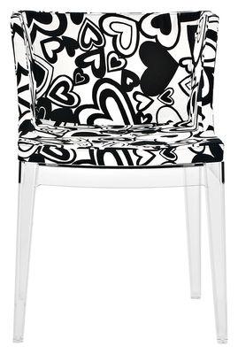 Mobilier - Chaises, fauteuils de salle à manger - Fauteuil rembourré Mademoiselle Moschino / Tissu & pieds transparents - Kartell - Coeurs noirs - Polycarbonate, Tissu