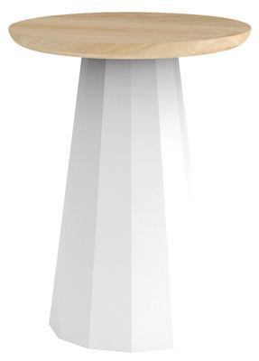 Möbel - Hocker - Ankara Hocker / H 45 cm - Metall - Matière Grise - Weiß - bemalter Stahl, massive Eiche