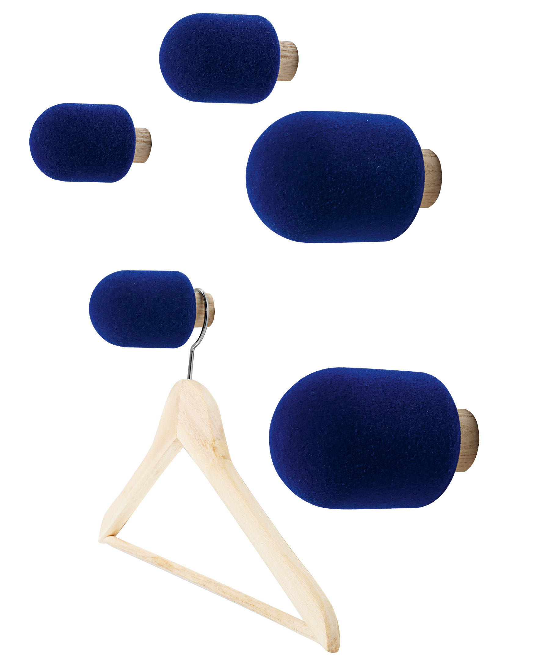 Furniture - Coat Racks & Pegs - Micro Hook - Set of 5 hooks by Moustache - Blue - Ashwood, Flocked Foam