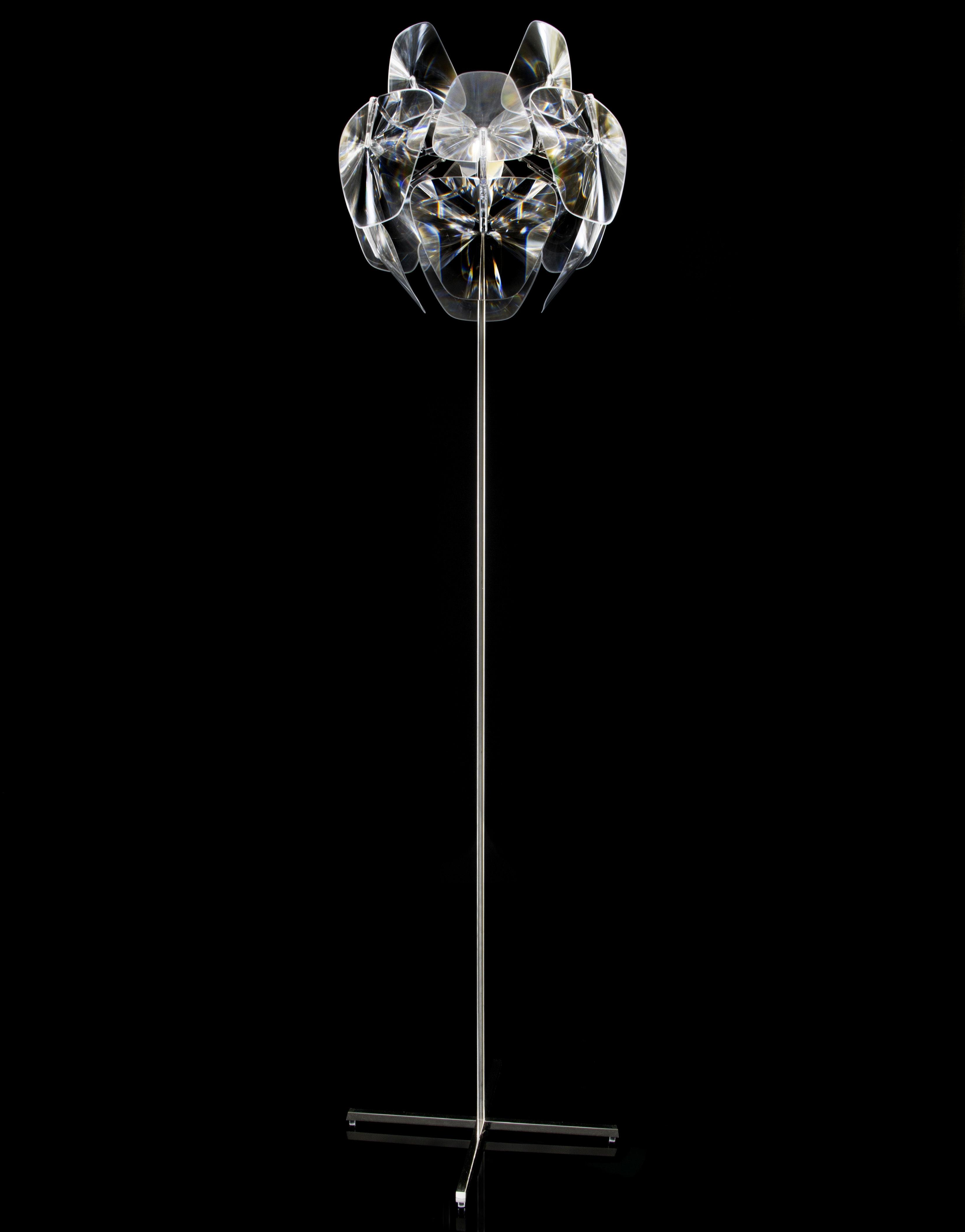 Luminaire - Lampadaires - Lampadaire Hope / pied simple - H 184 cm - Luceplan - Transparent - Lampadaire pied simple - Acier inoxydable poli, Polycarbonate