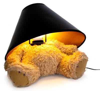 Déco - Pour les enfants - Lampe de table Teddy Bear / LED - Suck UK - Beige / Abat-jour noir & or - Métal, Mousse, Tissu