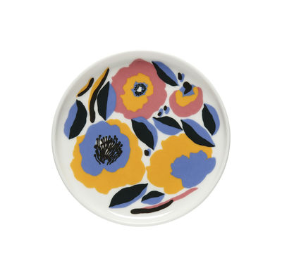 Tableware - Plates - Rosarium Petit fours plates - / Ø 13.5 cm by Marimekko - Rosarium / Pink & blue - Sandstone
