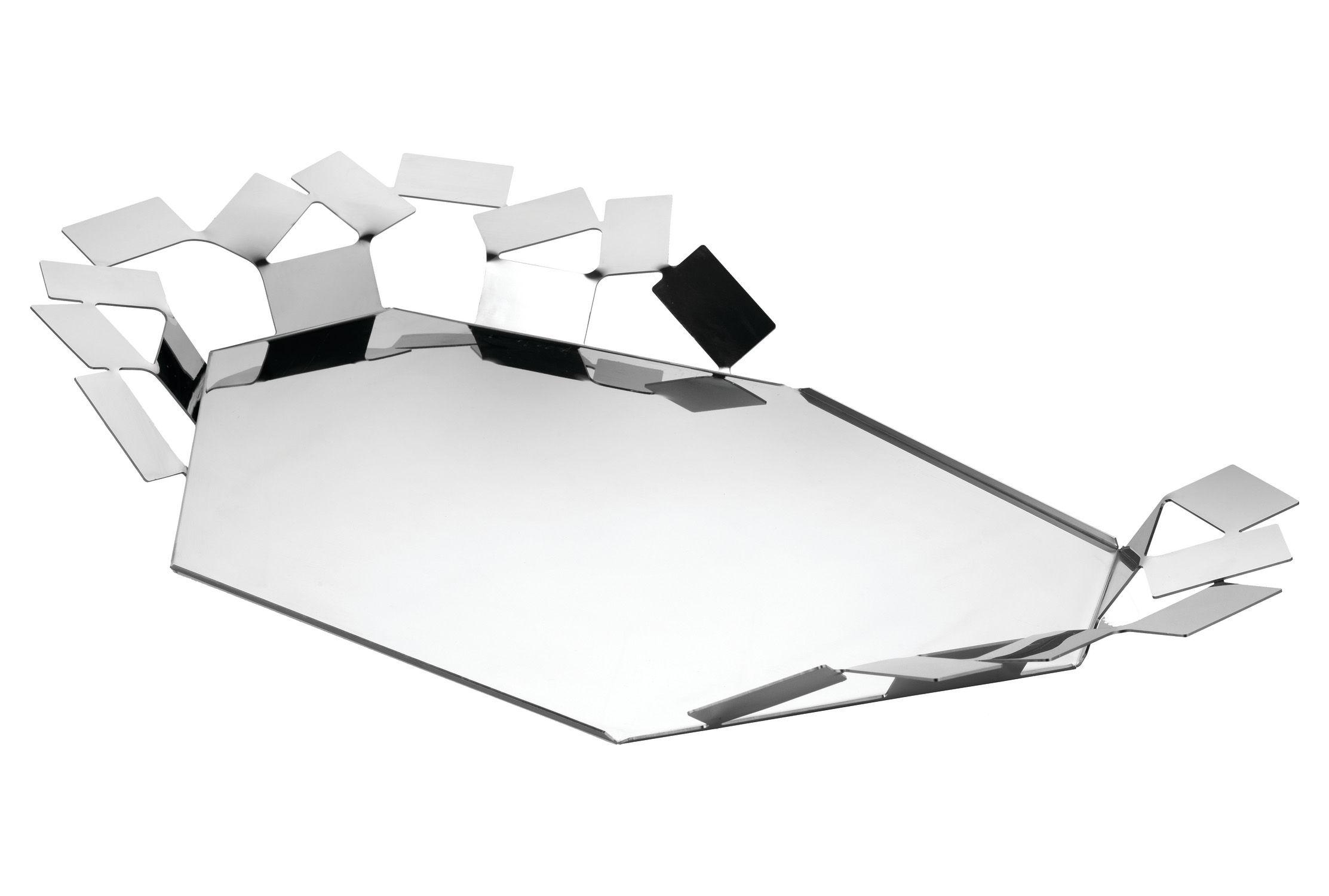 Arts de la table - Plateaux - Plateau La Stanza dello Scirocco / 60 x 35 cm - Alessi - Acier brillant - Acier inoxydable poli