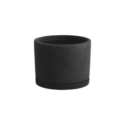 Pot de fleurs Large / Ø 19 x H 14,5 cm - Polystone / Soucoupe intégrée - Hay noir en pierre/matériau composite