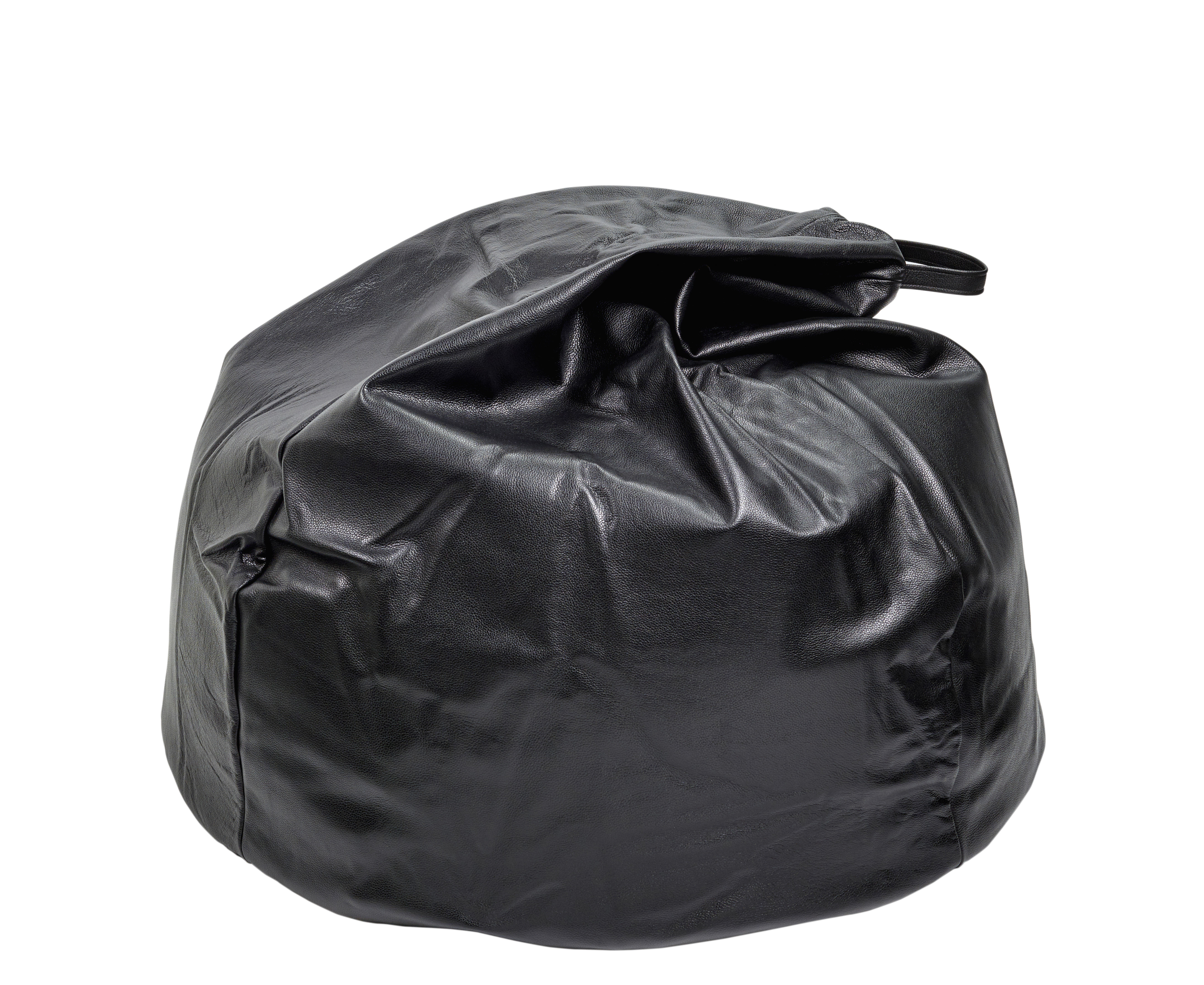Furniture - Poufs & Floor Cushions - Sitbag Pouf - / Leather - Ø 90 cm by Serax - Black - Leather