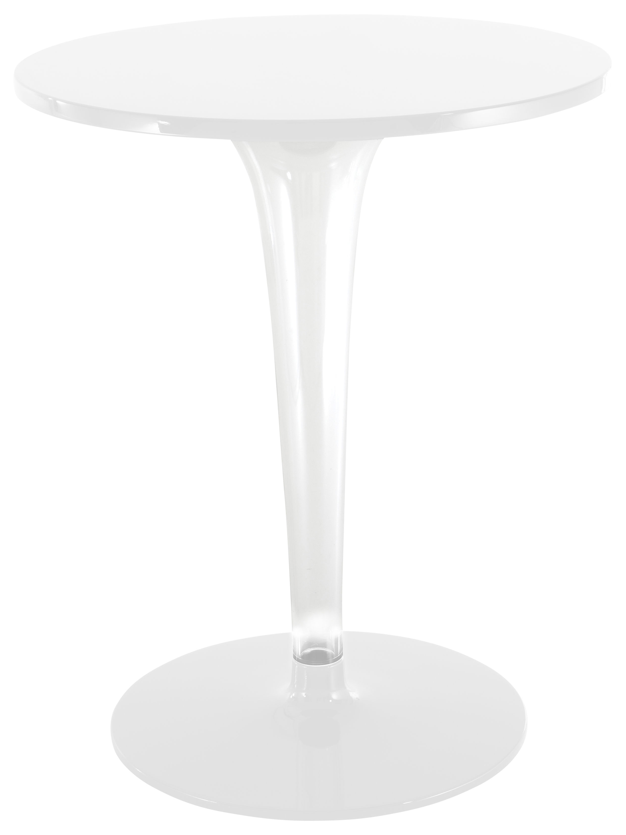 Outdoor - Garden Tables - TopTop - Dr. YES Round table - Round table top Ø 60 cm by Kartell - White / round leg & base - Melamine, PMMA, Varnished aluminium