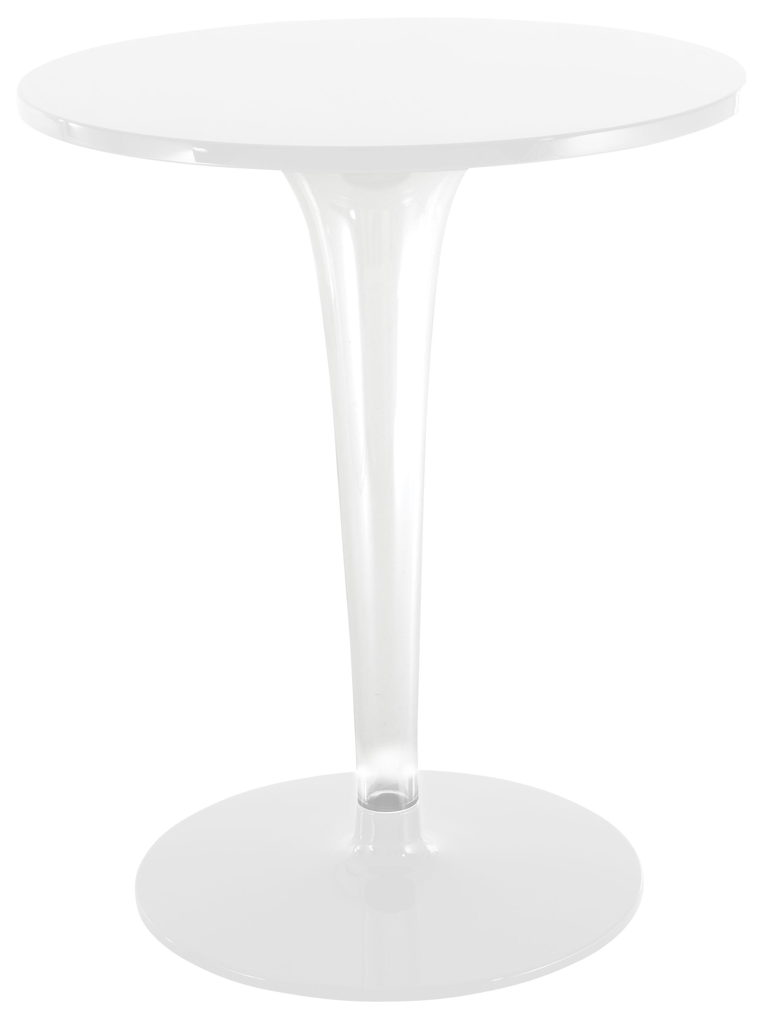 Outdoor - Tische - TopTop - Dr. YES Runder Tisch mit runder Tischplatte Ø 60 cm - Kartell - Ø 60 cm - Weiß / Sockel und Fuß rund - klarlackbeschichtetes Aluminium, Melamin, PMMA