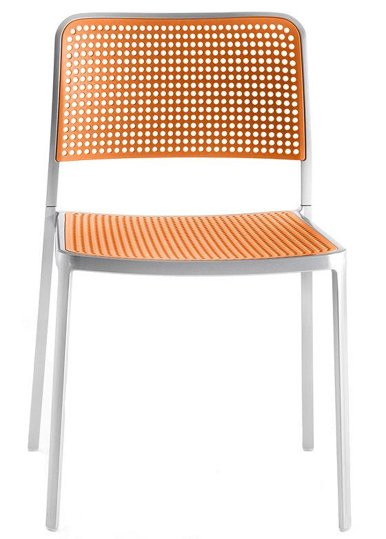Arredamento - Sedie  - Sedia impilabile Audrey - struttura alluminio opaco di Kartell - Struttura in alluminio opaco / Seduta arancione - alluminio verniciato, Polipropilene