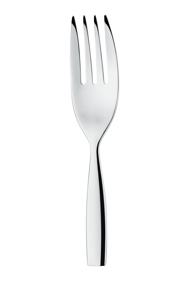 Tableware - Serving Cutlery - Dressed Service fork - L 25 cm by Alessi - Mirror polished steel - Stainless steel