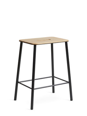 Arredamento - Sgabelli - Sgabello Adam - / H 50 cm - Rovere & Acciaio di Frama  - Rovere & nero - Acciaio laccato epossidico, Rovere oliato
