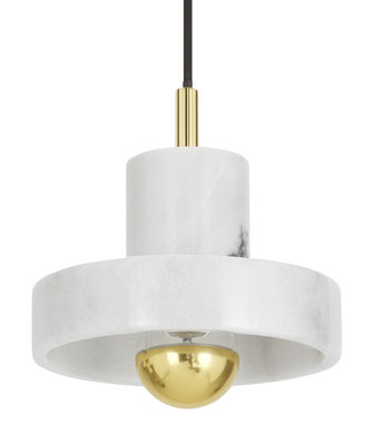 Illuminazione - Lampadari - Sospensione Stone / Ø 18 cm - Tom Dixon - Marmo bianco / Ottone - Marmo, Ottone