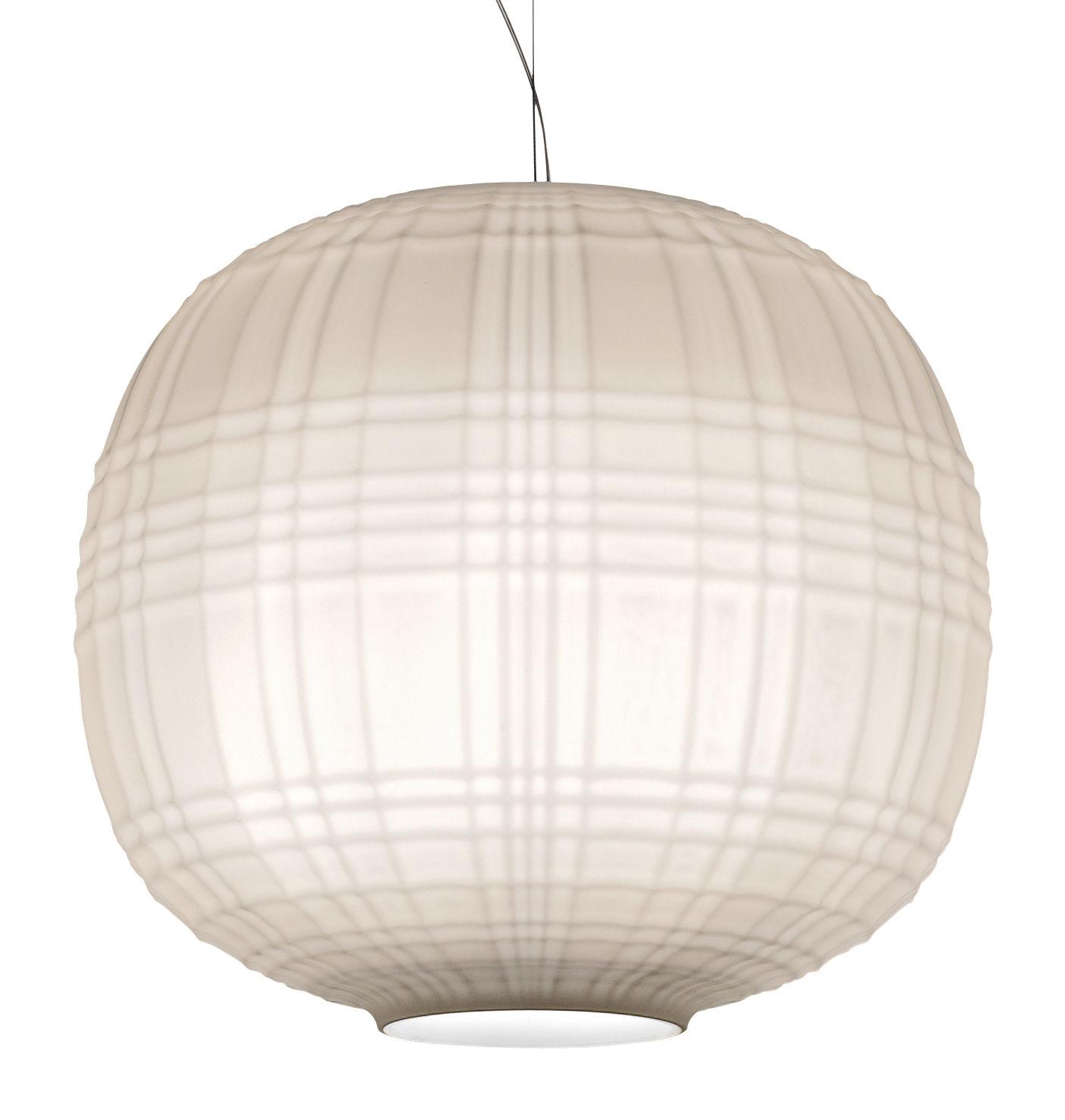 Illuminazione - Lampadari - Sospensione Tartan / Ø 35 cm - Foscarini - Bianco - Vetro soffiato in rilievo e acidato