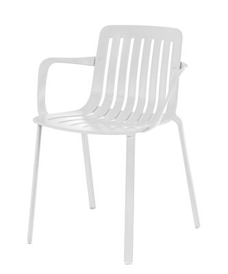 Furniture - Chairs - Plato Stackable armchair - / Aluminium by Magis - White - Painted cast aluminium, Varnished injected aluminium
