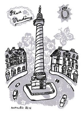 Interni - Per bambini - Sticker Place Vendôme - 25 x 35 cm di Domestic - Grigio - Vinile