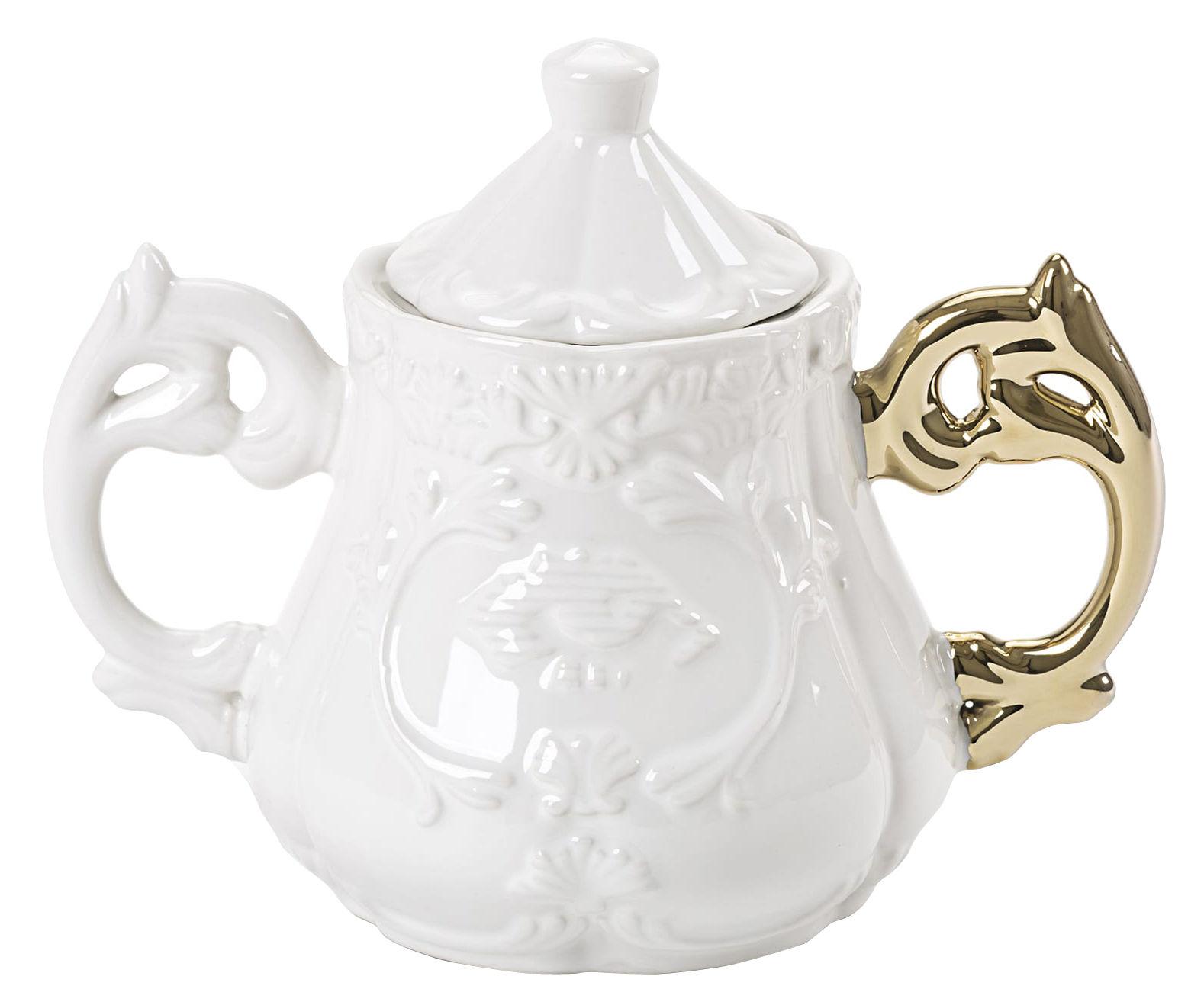 Kitchenware - Sugar Bowls, Milk Pots & Creamers - I-Sugar Sugar bowl by Seletti - White / Gold handle - China