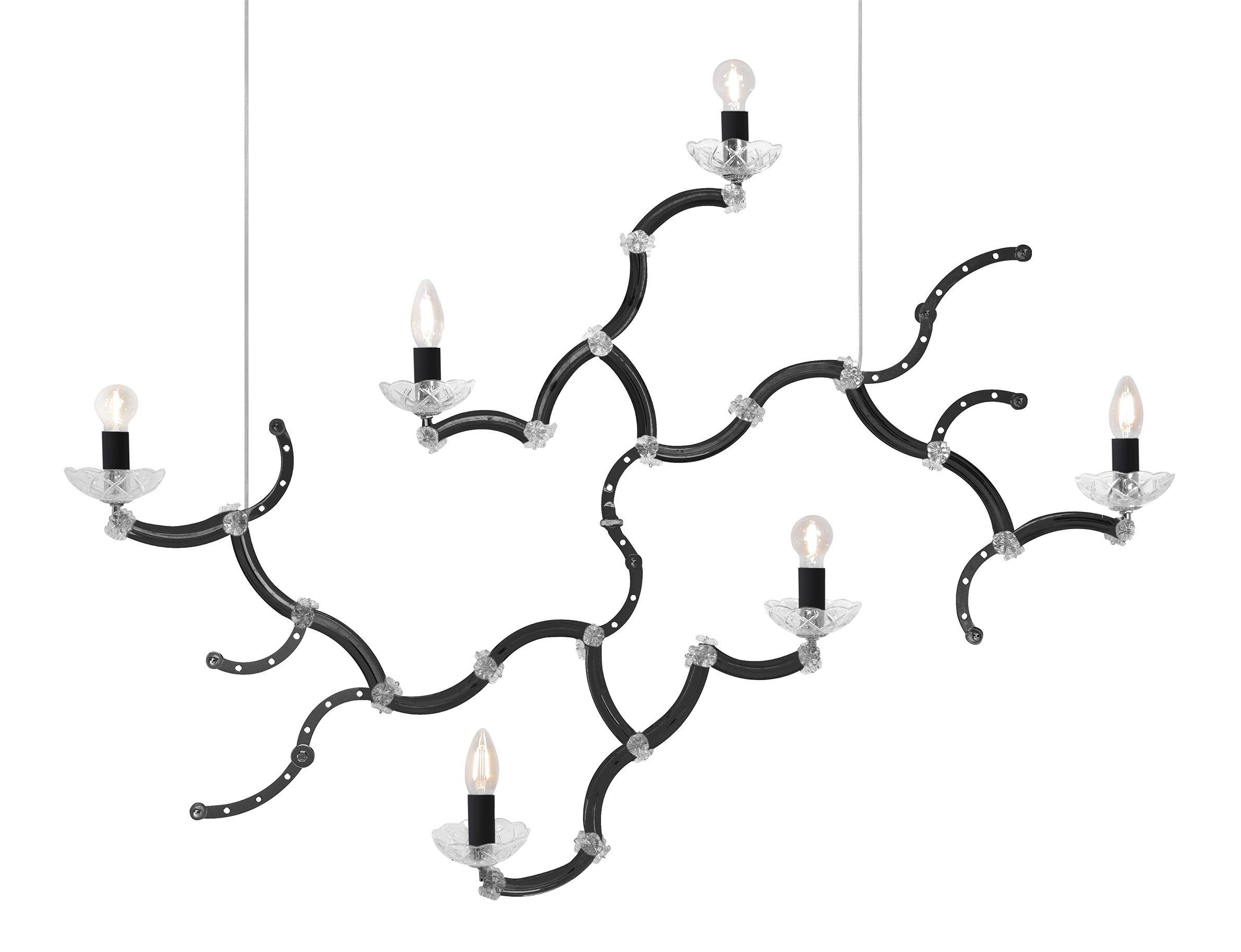 Luminaire - Suspensions - Suspension Ghebo / Verre & Métal - L 115 x H 81 cm - Karman - Noir - Métal, Verre