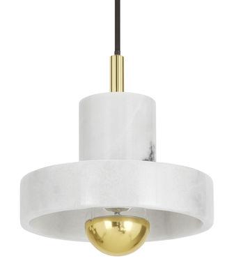 Luminaire - Suspensions - Suspension Stone / Ø 18 cm - Tom Dixon - Marbre blanc / Laiton - Laiton, Marbre