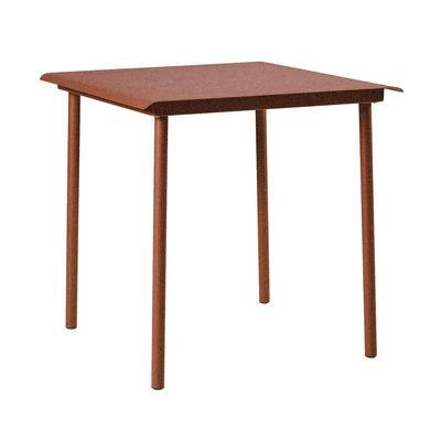 Table carrée Patio Café / Inox - 75 x 75 cm - Tolix rouille fauve en métal