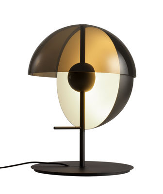 Lighting - Table Lamps - Theia Table lamp - LED / H 43,5 cm by Marset - Black / Smocked brown - Lacquered metal, Smoked methacrylate