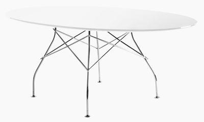 Table ovale Glossy Glass 194 x 120 cm Verre Kartell blanc,chromé en verre