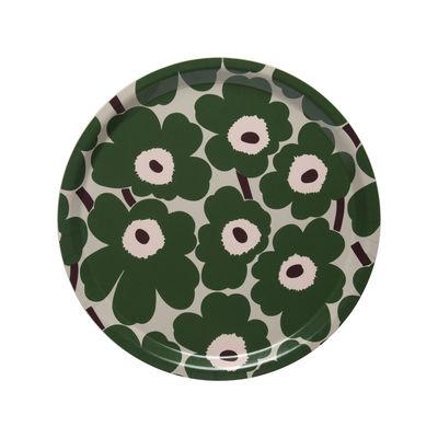Tischkultur - Tabletts - Mini Unikko Tablett / Ø 31 cm - Marimekko - Mini Unikko / Grün - Laminé de bouleau