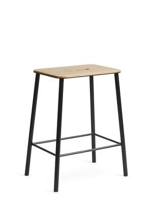 Mobilier - Tabourets bas - Tabouret Adam / H 50 cm - Indoor - Frama  - H 50 cm / Chêne & noir - Acier laqué époxy, Chêne huilé