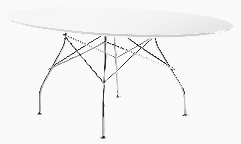 Tavolo ovale glossy glass di kartell bianco made in design for Tavolo ovale bianco mondo convenienza