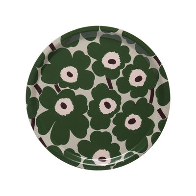 Tableware - Trays - Mini Unikko Tray - / Ø 31 cm by Marimekko - Mini Unikko / Green - Laminated birch