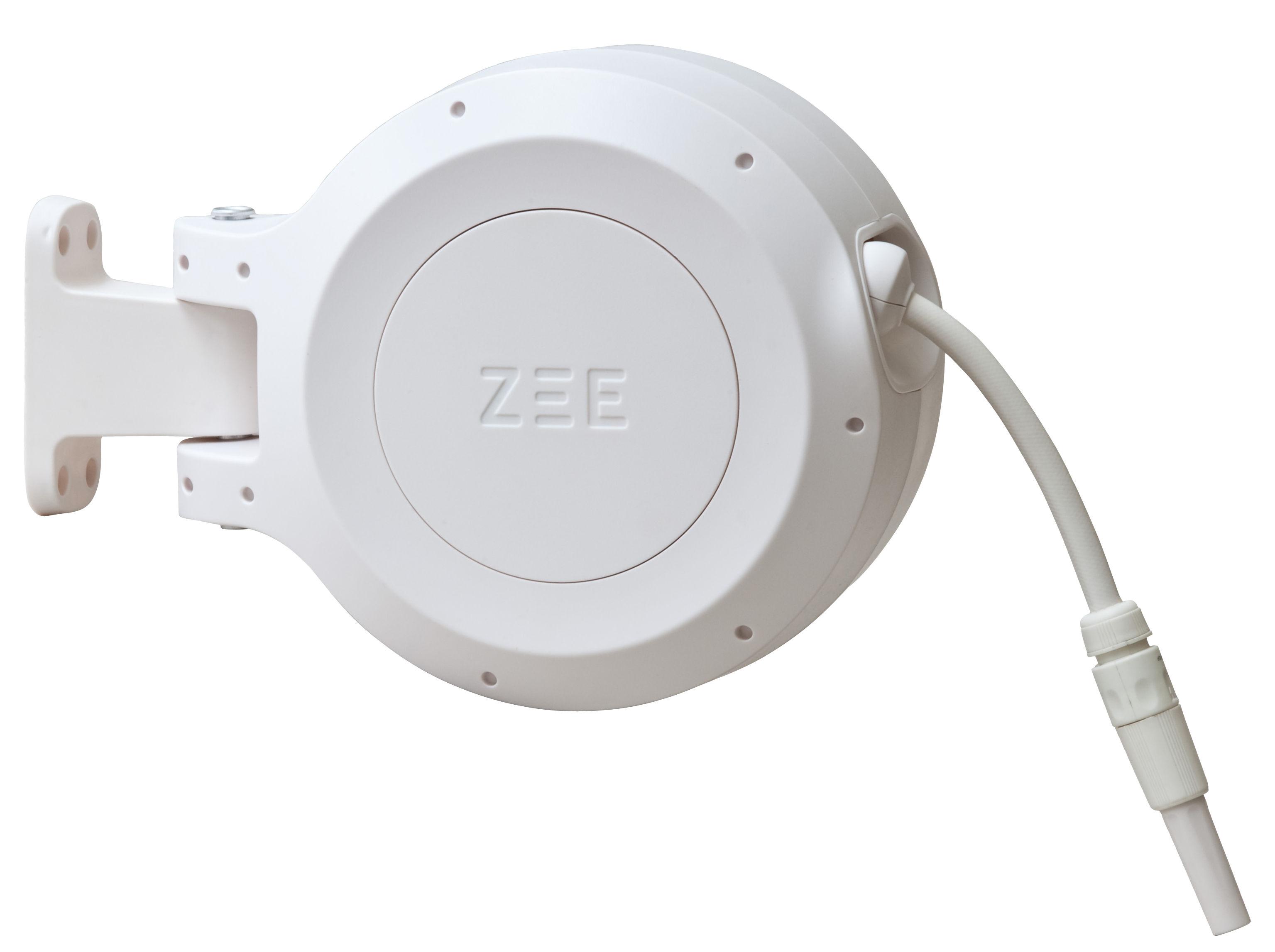 Jardin - Pots et plantes - Tuyau d'arrosage Mirtoon 10m / Enrouleur automatique - Pistolet offert - Zee - Blanc - ABS, PVC