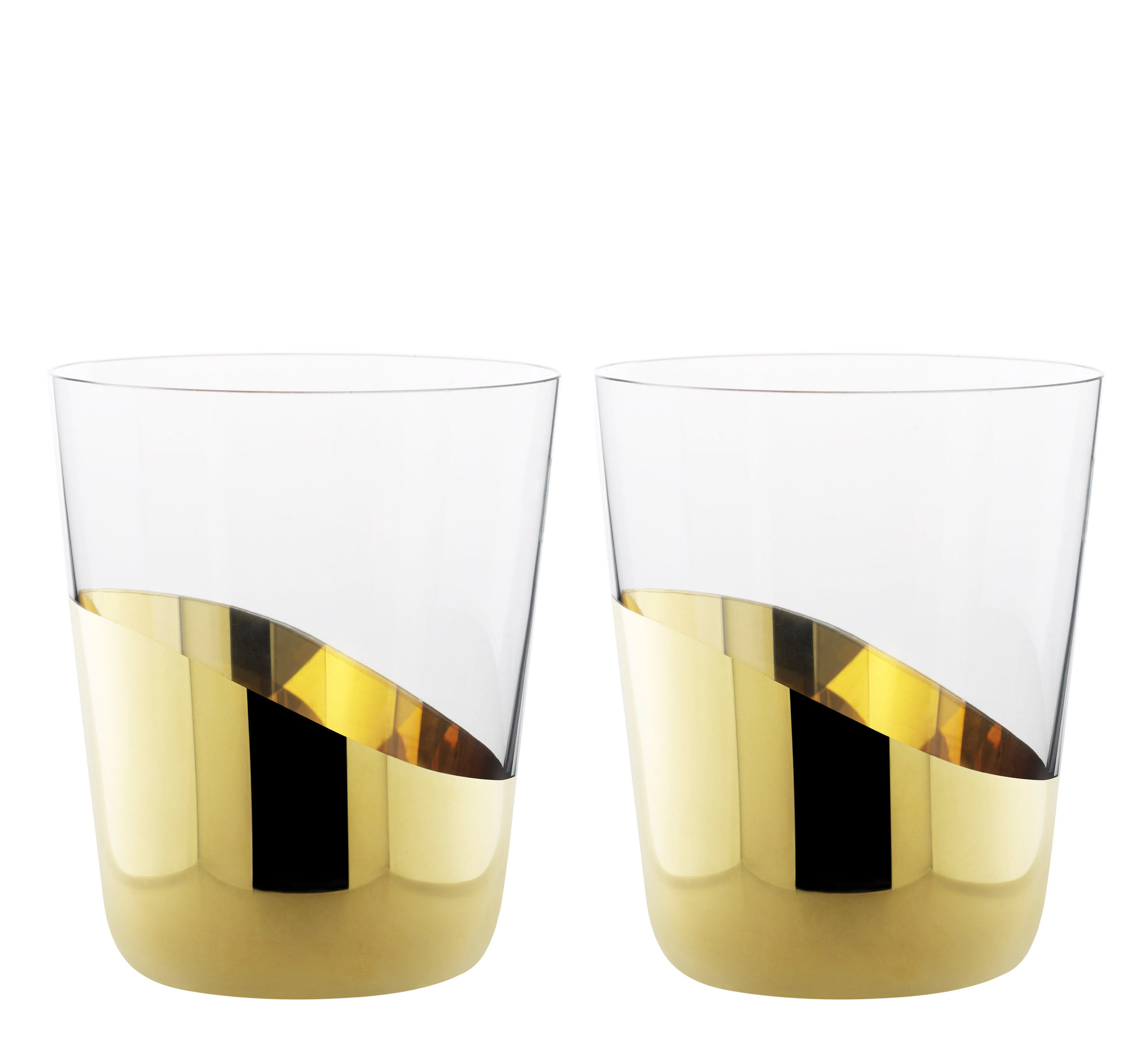 Tableware - Wine Glasses & Glassware - Midas Water glass - 2 water glasses gold lower by Skitsch - Clear & gold - Gold, Mouth blown glass