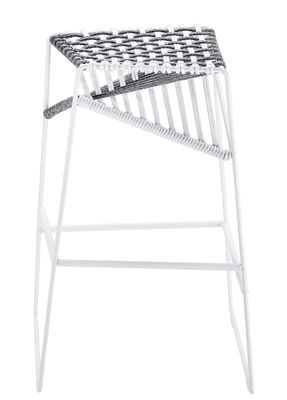 Furniture - Bar Stools - Twist Bar stool - H 77 cm - Woven cords by Zanotta - White / grey - Polyester, Varnished steel