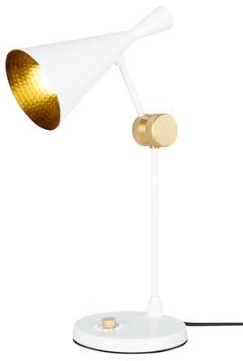 Leuchten - Tischleuchten - Beat Bodenleuchte / H 48 cm - Tom Dixon - Weiß glänzend - Gusseisen, Messing